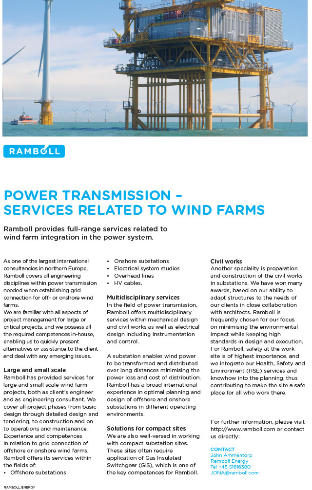 Ramboll provides full-range services related to wind farm integration in the power system