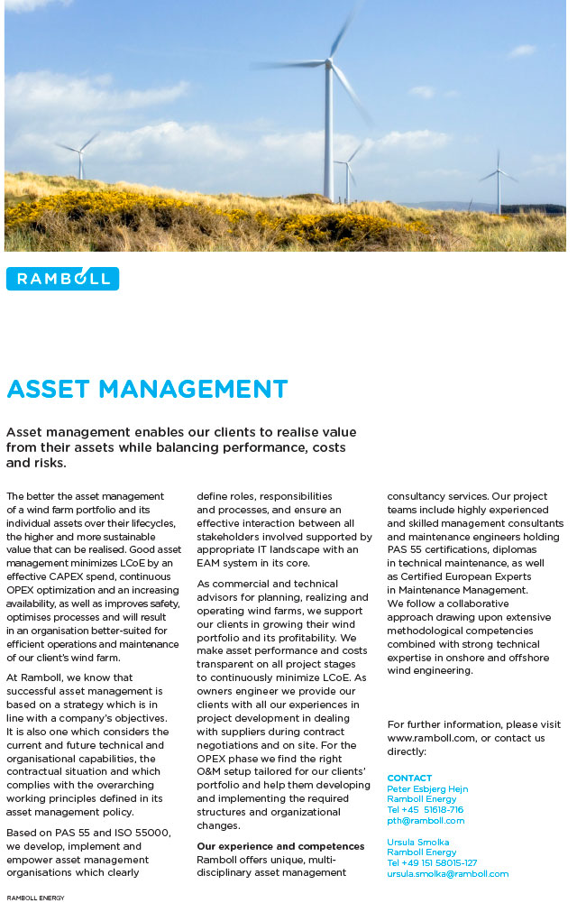 Asset management enables our clients to realise value from their assets while balancing performance, costs and risks.