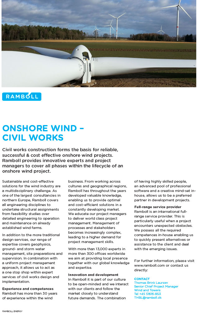 Civil works construction forms the basis for reliable, successful and cost effective onshore wind projects