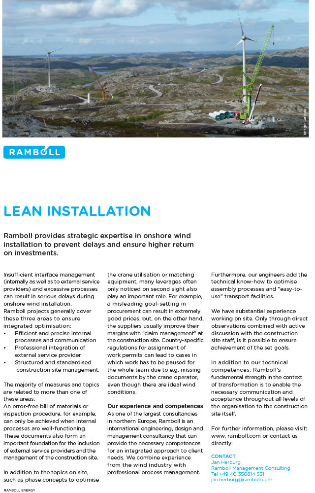 Ramboll provides strategic experience in onshore wind installation to prevent delays and ensure higher return on investments.