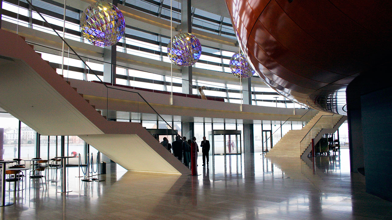 The Copenhagen Opera House, interior view of lobby with stairs and Olafur Eliasson's chandeliers