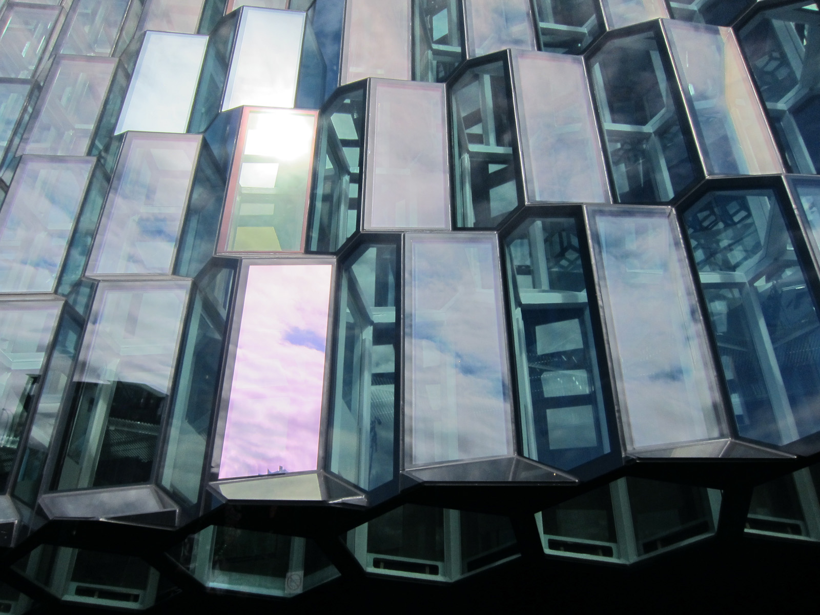 Sky mirrored in the Harpa facade