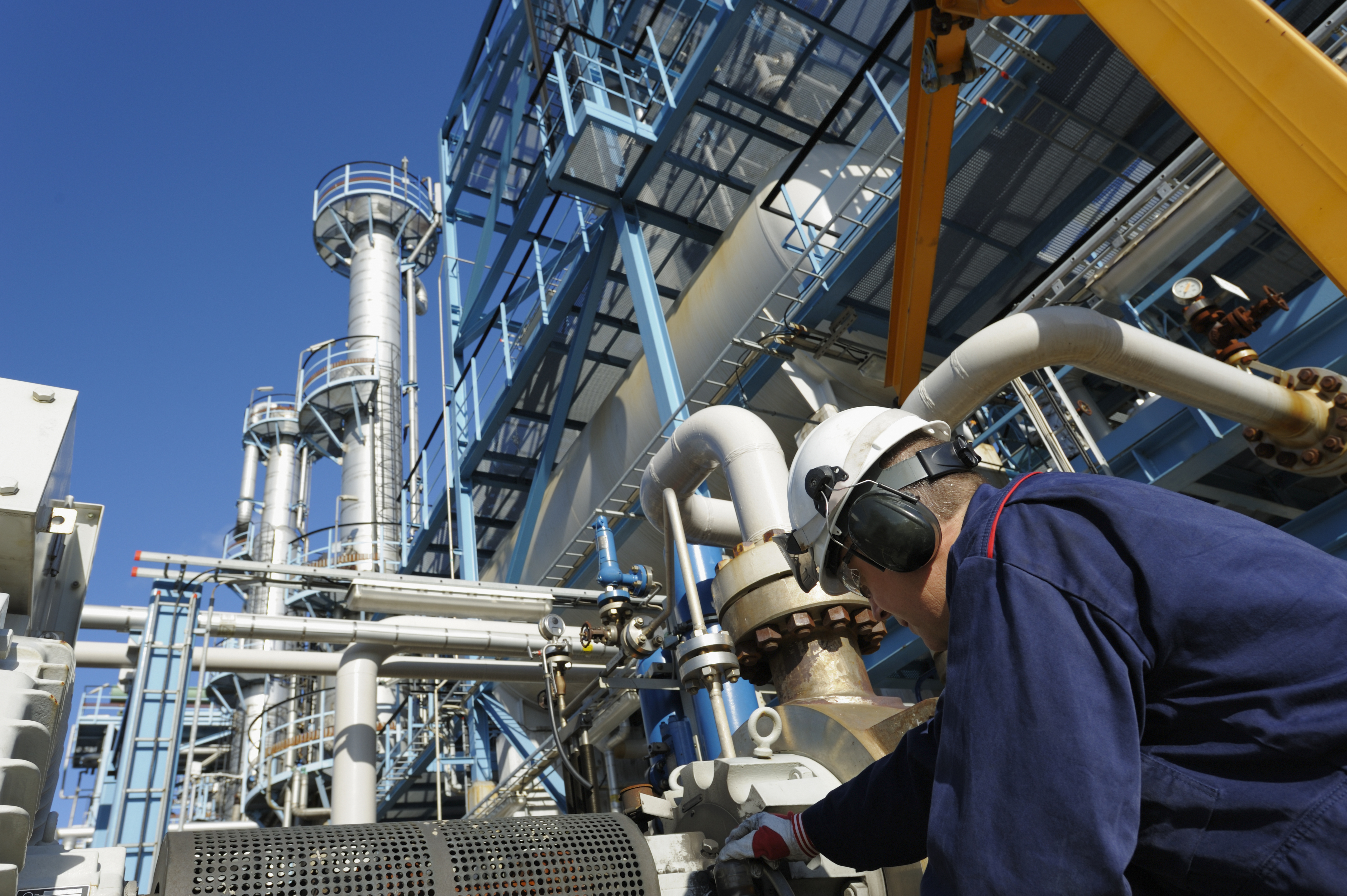 Worker at production refinery