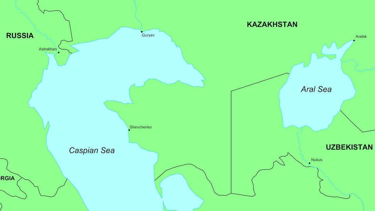 Map of the Caspian Sea and surroundings