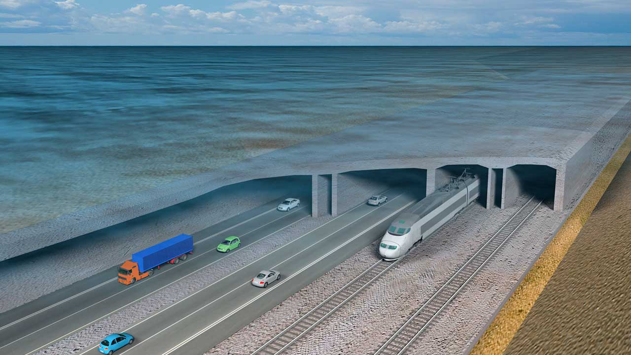 Visualisation of train and cars on the Fehmarn Belt Fixed Link
