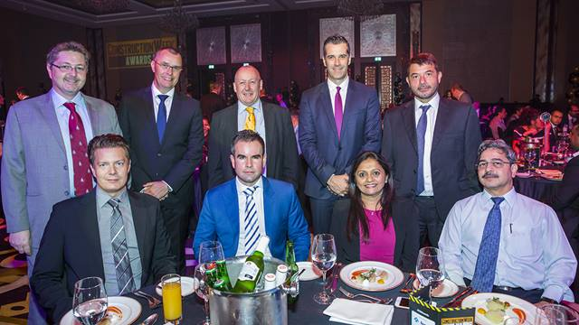(L-R): David Peter Smith, Al Naboodah General Contracting; Andreas Lejholm, Ramboll; Rob Hounsome, Ramboll; Brian Sweeney, Ramboll; Julian Harvey-Bennett, Ramboll; Kostas Dimitros, SALFO; Renjini Nair, Ramboll; Michael Paschalis, BESIX; and Nitin Bodas, Ramboll (Pictures courtesy of ITP Business Publishing).