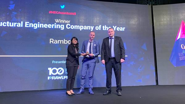 Ramboll was named Structural Engineering Company of the Year at the 2018 Middle East Consultant Awards held last night at the Ritz Carlton in Dubai.