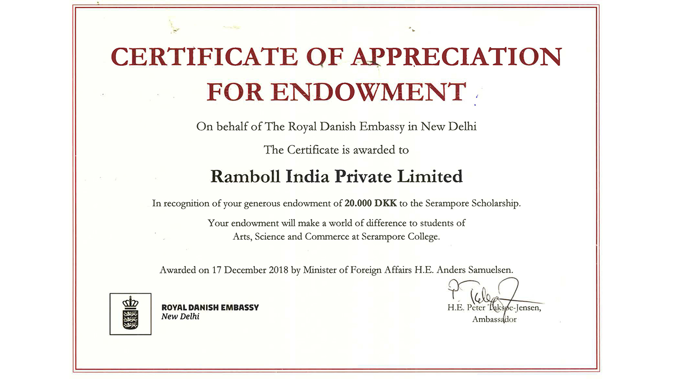 Ramboll has donated DKK 20,000 to the Danish scholarship fund for students in Serampore, India.