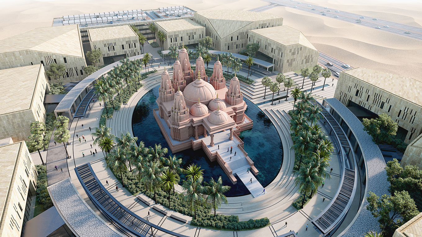 Hindu Temple Abu Dhabi. Image courtesy of RSP Architects